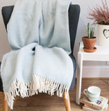 Herringbone Pure New Wool Throw - Duck Egg