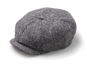 Fleck Tweed Baker Boy Hat - Grey