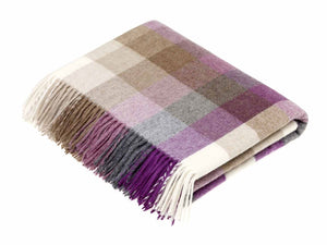 Harlequin Check Lambswool Throw - Clover
