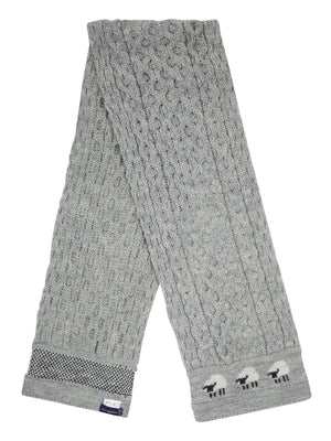Knitted 100% British Wool Scarf - Grey