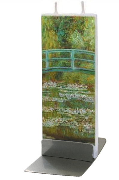 Flatyz Handmade Twin Wick Unscented Thin Flat Candle - Claude Monet The Japanese Footbridge