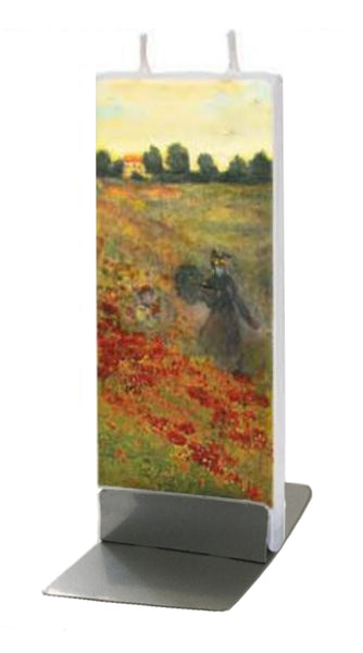 Flatyz Handmade Twin Wick Unscented Thin Flat Candle - Cloude Monet Wild Poppies Near Argenteuil