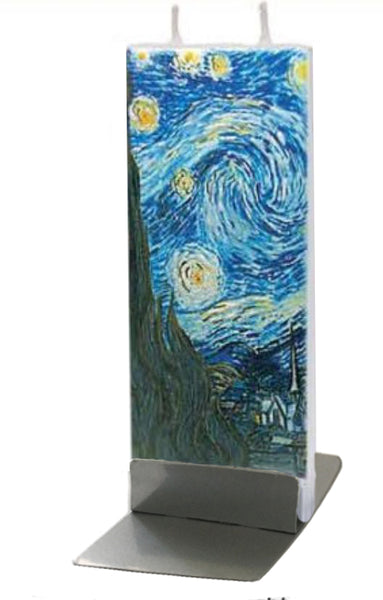Flatyz Handmade Twin Wick Unscented Thin Flat Candle - Van Gogh The Starry Night