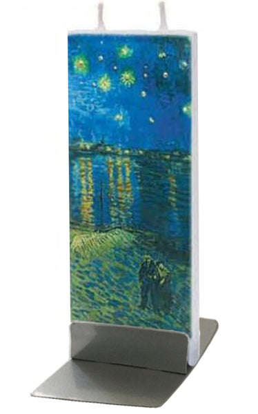 Flatyz Handmade Twin Wick Unscented Thin Flat Candle - Van Gogh Starry Night Over The Rhone