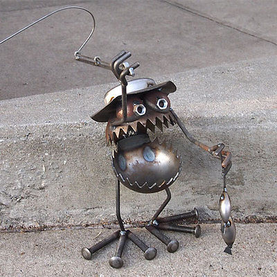 Sugarpost Gnome Be Gone Fly Fisherman with Fish Welded Metal Art