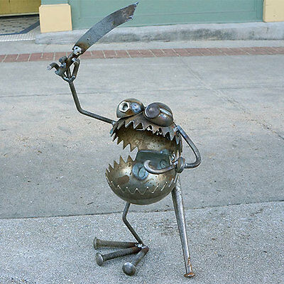 Sugarpost Gnome Be Gone One Legged Pirate with Sword & Hook Welded Metal Art
