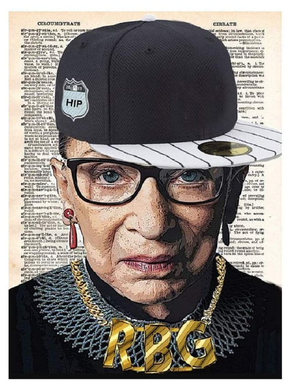 Art N Wordz RBG Ruth Bader Ginsburg Original Dictionary Page Pop Art Print Poster