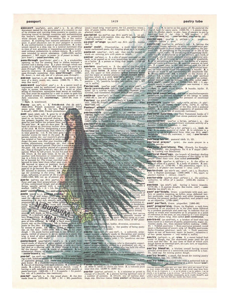 Art N Wordz Winging It Angel Original Dictionary Sheet Pop Art Wall or Desk Art Print Poster