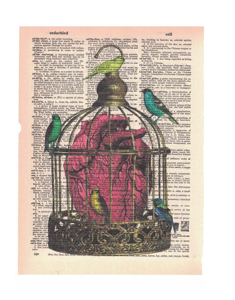 Art N Wordz Caged Heart Dictionary Page Pop Art Wall Desk Art Print Poster