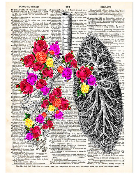 Art N Wordz Flower Lungs Dictionary Page Pop Art Wall Desk Art Print Poster