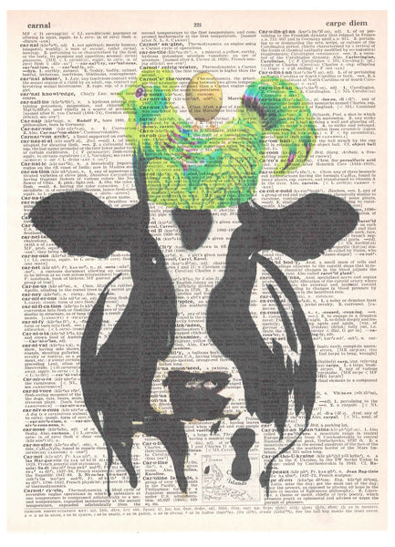 Art N Wordz Utterly Ridiculous Cow Chicken Egg Dictionary Page Pop Art Wall Desk Art Print Poster