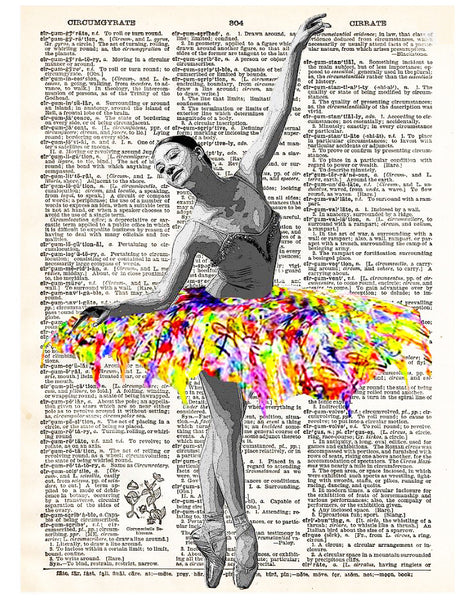 Art N Wordz Colorful Ballet Ballerina Dictionary Page Pop Art Wall Desk Art Print Poster