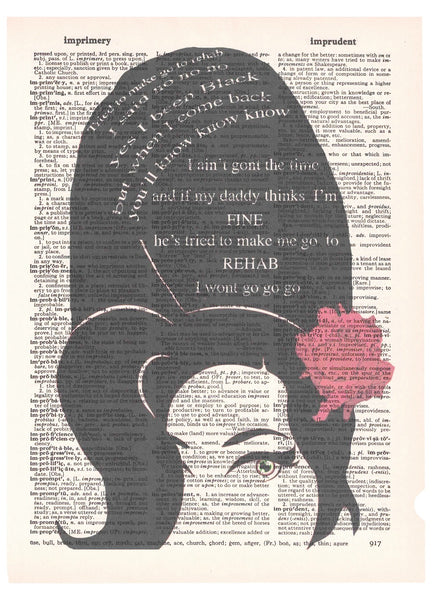 Art N Wordz Amy Winehouse Dictionary Page Pop Art Wall Desk Art Print Poster