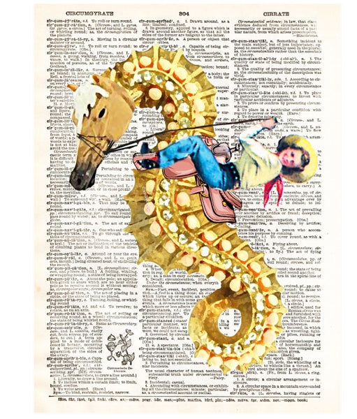 Art N Wordz Seahorse Rodeo Cowgirl Dictionary Page Pop Art Wall Desk Art Print Poster