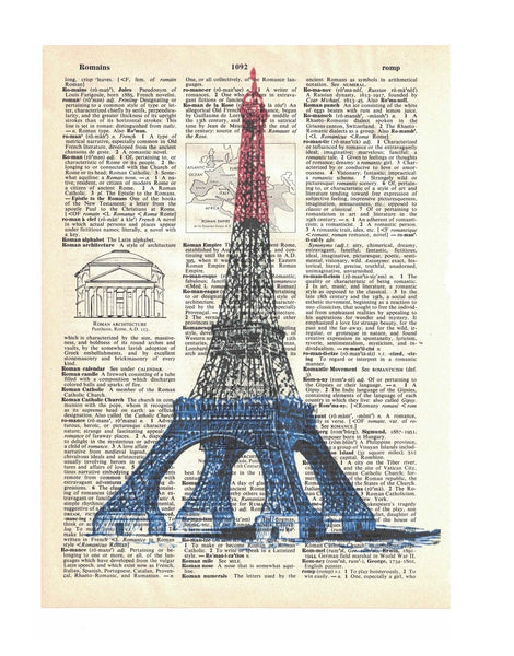 Art N Wordz Eiffel Tower Paris France Dictionary Page Pop Art Wall Desk Art Print Poster