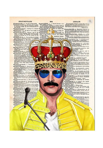 Art N Wordz Freddie Mercury Crown Queen Original Dictionary Page Pop Art Print Poster