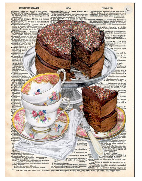 Art N Wordz Chocolate Cake Dictionary Page Pop Art Wall or Desk Art Print Poster