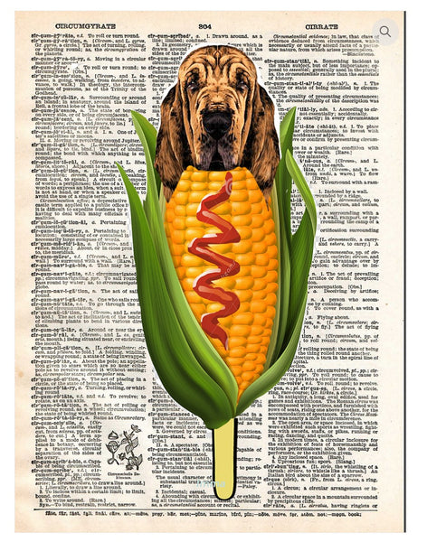 Art N Wordz Corn Dog Dictionary Page Pop Art Wall or Desk Art Print Poster