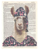 Artnwordz Llama in Pajama Dictionary Page Pop Art Wall or Desk Art Print Poster