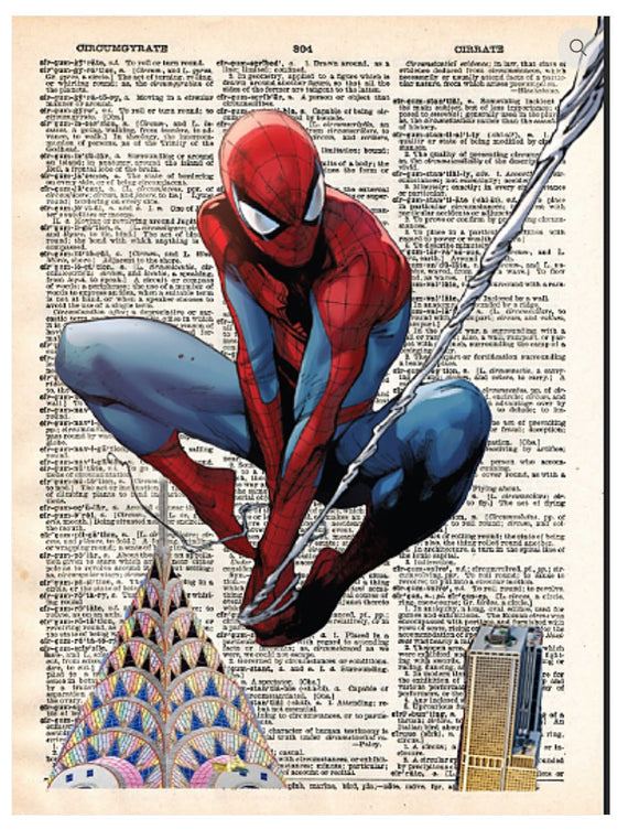 Art N Wordz Spiderman Spider Man Dictionary Page Pop Art Wall or Desk Art Print Poster