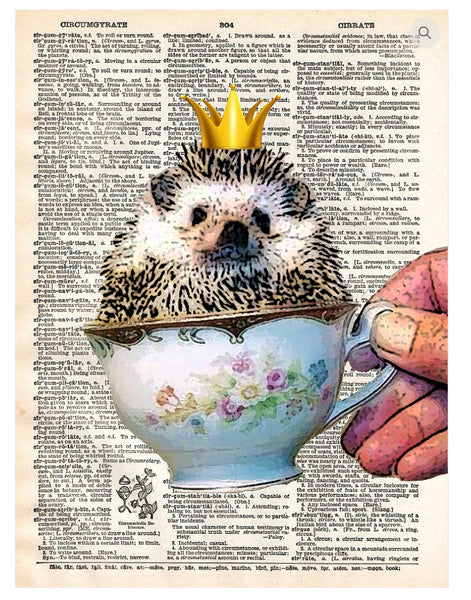 Art N Wordz Hedgehog Dictionary Page Pop Art Wall or Desk Art Print Poster
