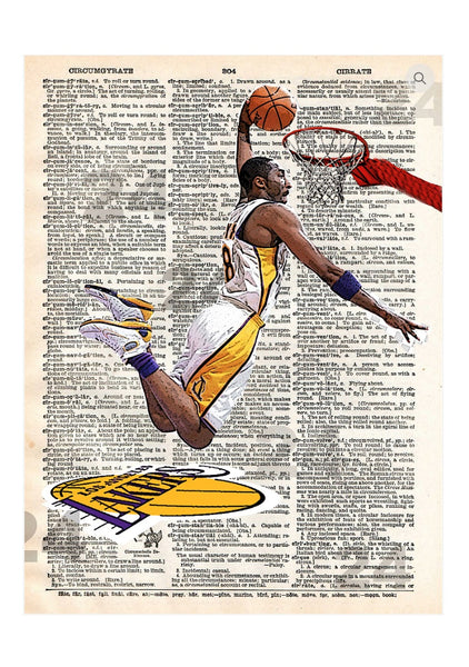 Art N Wordz KB24 Kobe Bryant Original Dictionary Page Pop Art Print Poster