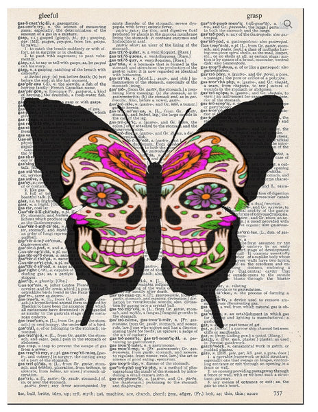 Art N Wordz Butterfly Skull Dictionary Page Pop Art Wall or Desk Art Print Poster