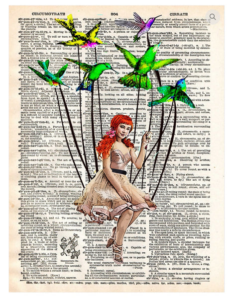Art N Wordz Bird on Wire Girl Hummingbirds Dictionary Page Pop Art Wall or Desk Art Print Poster