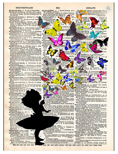 Art N Wordz Butterflies Fly Dictionary Page Pop Art Wall or Desk Art Print Poster