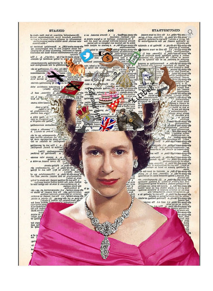 Art N Wordz God Save The Queen Original Dictionary Page Pop Art Print Poster