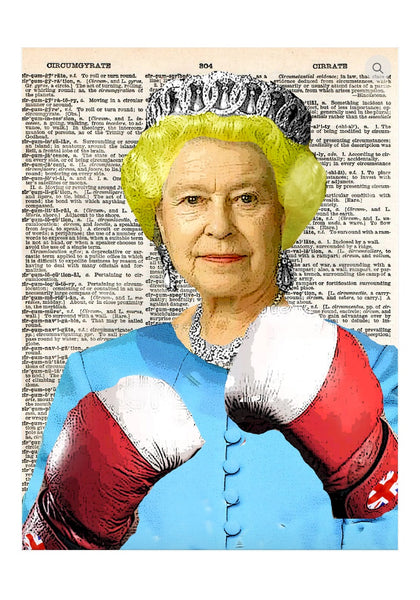 Art N Wordz British Pound Queen Boxing Original Dictionary Page Pop Art Print Poster