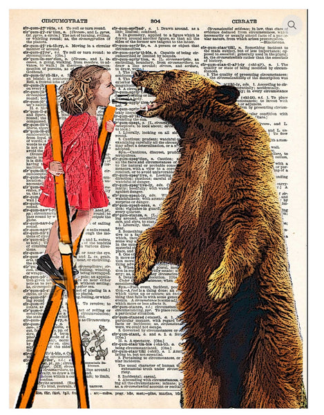 Art N Wordz Bear with Me Little Girl Dictionary Page Pop Art Wall or Desk Art Print Poster