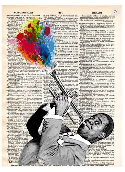 Artnwordz Louis Armstrong Original Dictionary Page Pop Art Print Poster