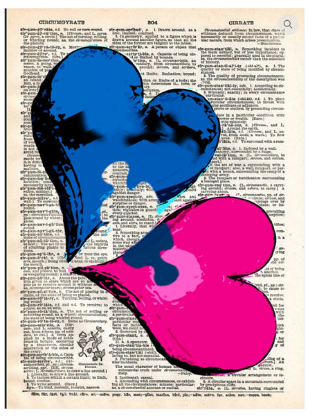 Art N Wordz Missing Piece Hearts Dictionary Page Pop Art Wall or Desk Art Print Poster