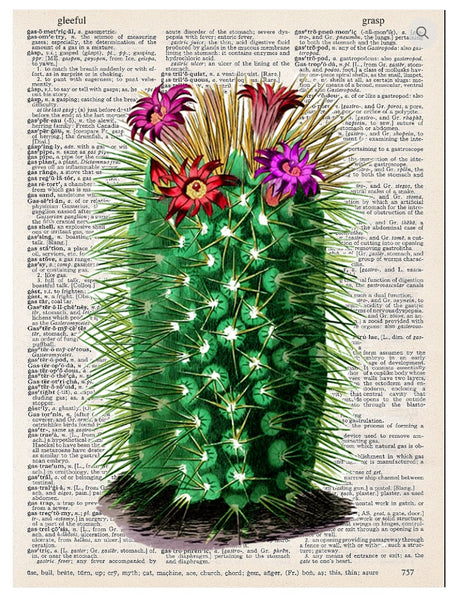 Art N Wordz Tall Cactus Dictionary Page Pop Art Wall or Desk Art Print Poster