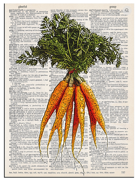 Art N Wordz Carrots Dictionary Page Pop Art Wall or Desk Art Print Poster