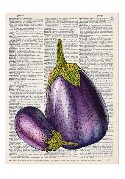 Art N Wordz Eggplant Dictionary Page Pop Art Wall or Desk Art Print Poster
