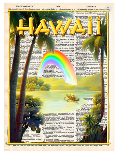 Art N Wordz Hawaii Dictionary Page Pop Art Wall or Desk Art Print Poster