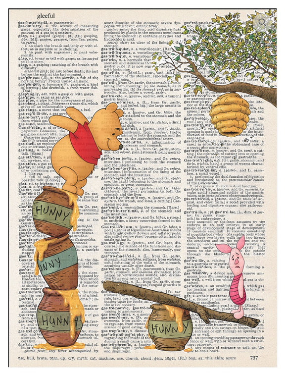 Art N Wordz Going in for Honey Winnie Pooh Piglet Dictionary Page Pop Art Wall or Desk Art Print Poster