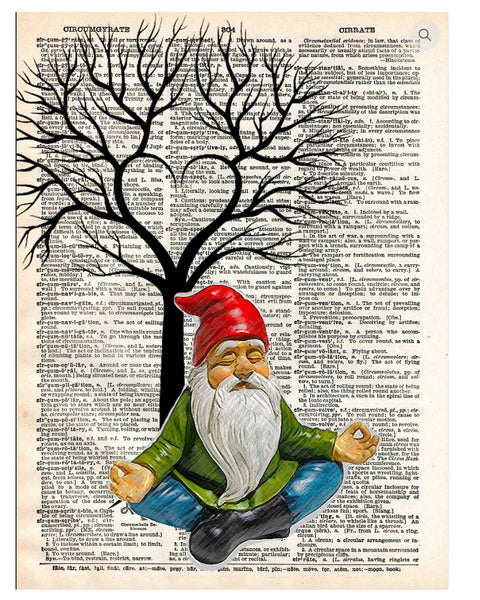 Art N Wordz Gnomaste Gnome Meditation Dictionary Page Pop Art Wall or Desk Art Print Poster