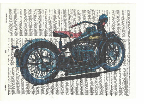Art N Wordz Indian Motorcycle Dictionary Page Pop Art Wall or Desk Art Print Poster
