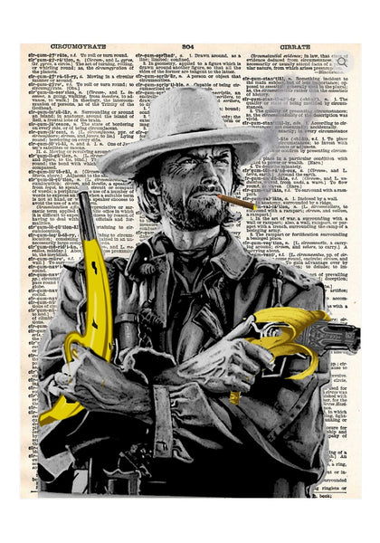 Art N Wordz Dangerous A-Peal Clint Eastwood Original Dictionary Pop Art Print Poster