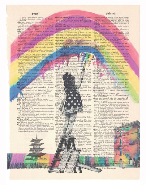 Art N Wordz Get Over It Girl Painting Rainbows Original Dictionary Page Pop Art Print Poster
