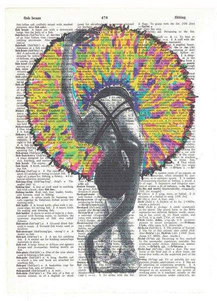 Art N Wordz Tutu Colorful Ballerina Original Dictionary Page Pop Art Print Poster