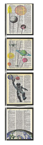 Art N Wordz David Bowie Major Tom 4 Piece Quadruplicate Original Dictionary Sheet Pop Art Wall or Desk Art Print Poster