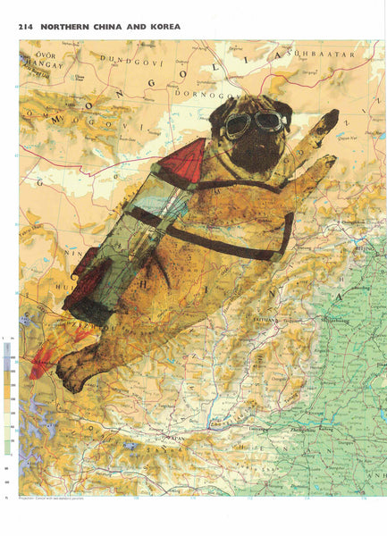 Art N Wordz Rocket Pug Original Atlas Page Original Pop Art Wall or Desk Art Print Poster