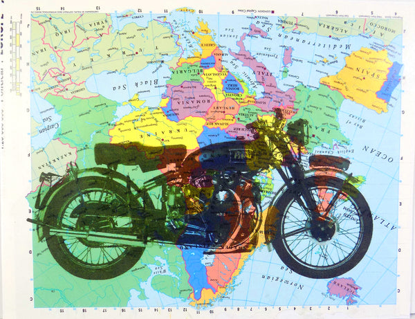 Art N Word Vintage Motorcycle Original Atlas Sheet Pop Art Wall or Desk Art Print Poster