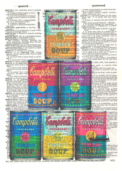 Art N Wordz Andy Warhol Campbell Soup Cans Original Dictionary Sheet Pop Art Wall or Desk Art Print Poster