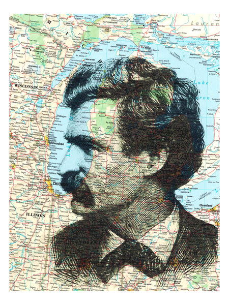 Art N Wordz Mark Twain Profile Original Upcycled Atlas Sheet Pop Art Wall or Desk Art Print Poster