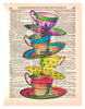 Art N Wordz Stacked Teacups Original Dictionary Sheet Pop Art Wall or Desk Art Print Poster